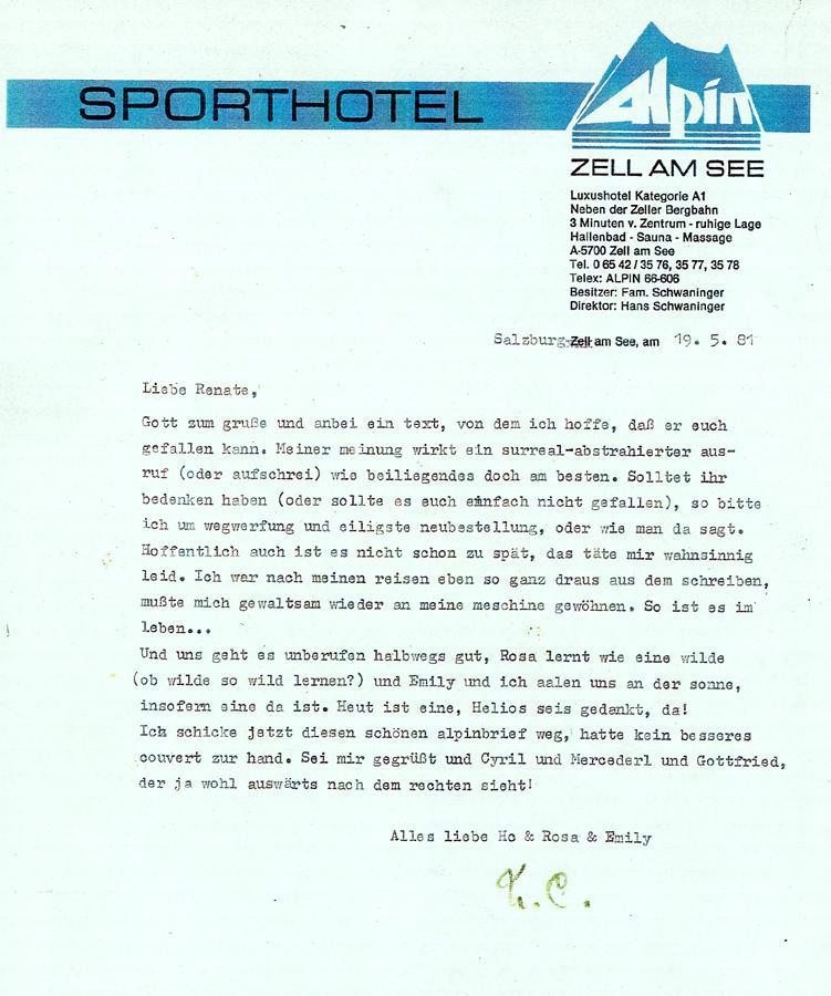 Brief von H.C. Artmann an Renate Helnwein