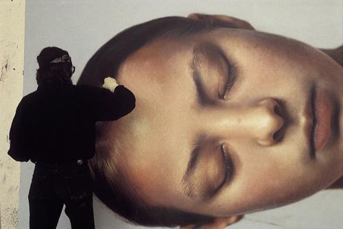 "Helnwein working on ""Head of a Child"""