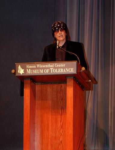 Helnwein speaking at the Commemoration of Kristallnacht