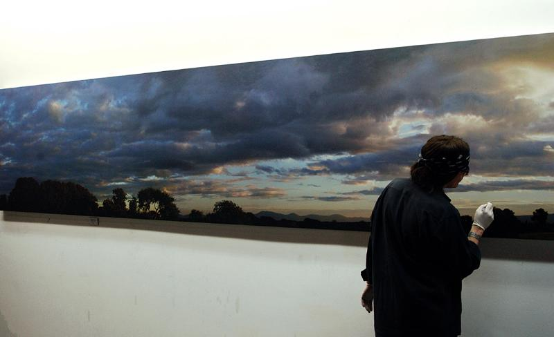 "Helnwein working on ""Irish landscape"" (Tullamaine)"
