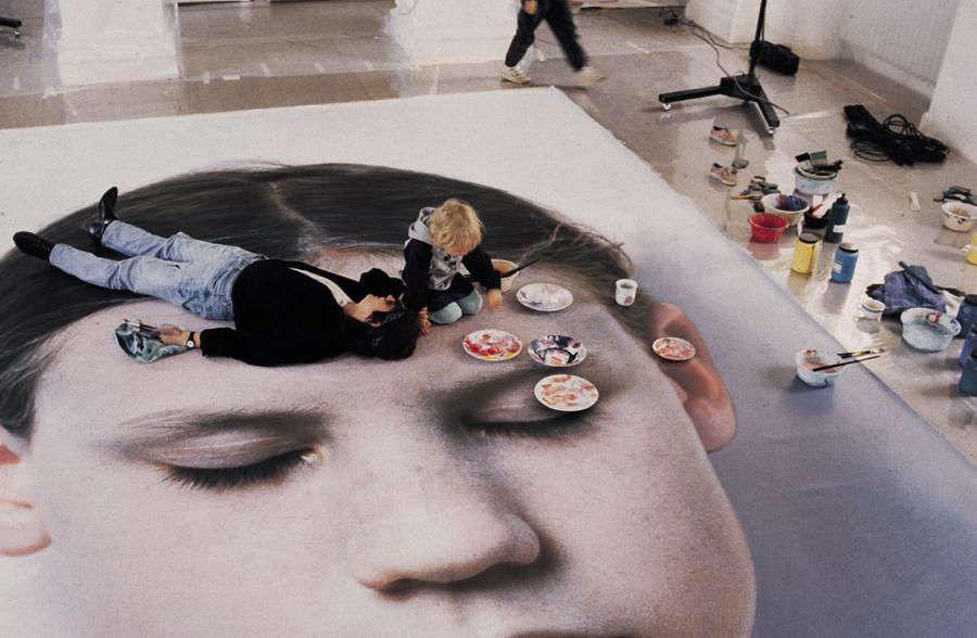 Helnwein working on Kindskopf (Head of a Child)