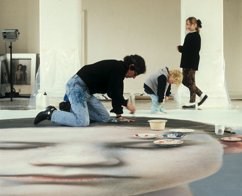 "Helnwein works on ""Head of a Child"" (Kindskopf)"