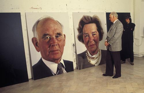 Collector Peter Ludwig views portraits of himself and his wife Irene, for the State Russian Museum St. Petersburg