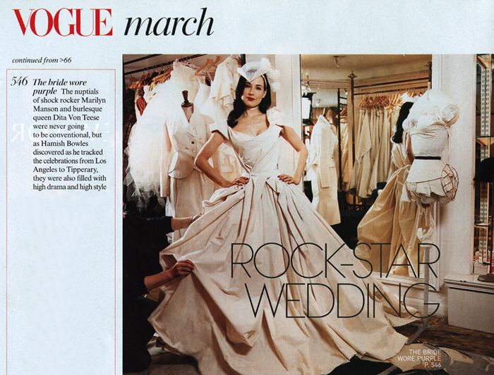 VOGUE, the Bride wore Purple