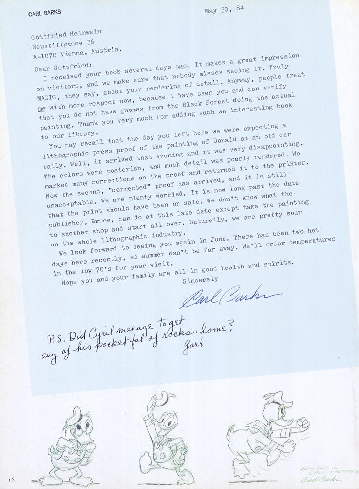 Carl Barks letter to Gottfried Helnwein
