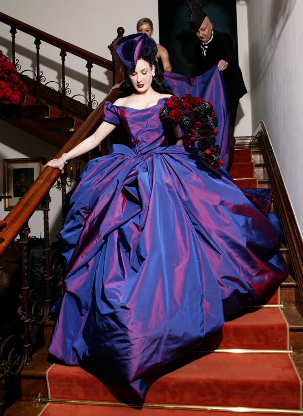 The Wedding, Dita Von Teese descending the stairs of the Great Hall