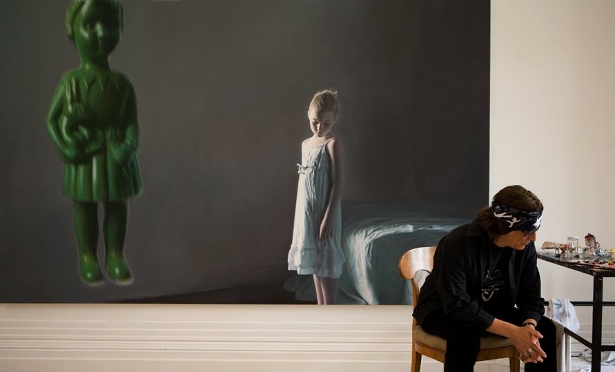 "Helnwein working on the exhibition ""The Disasters of War"""