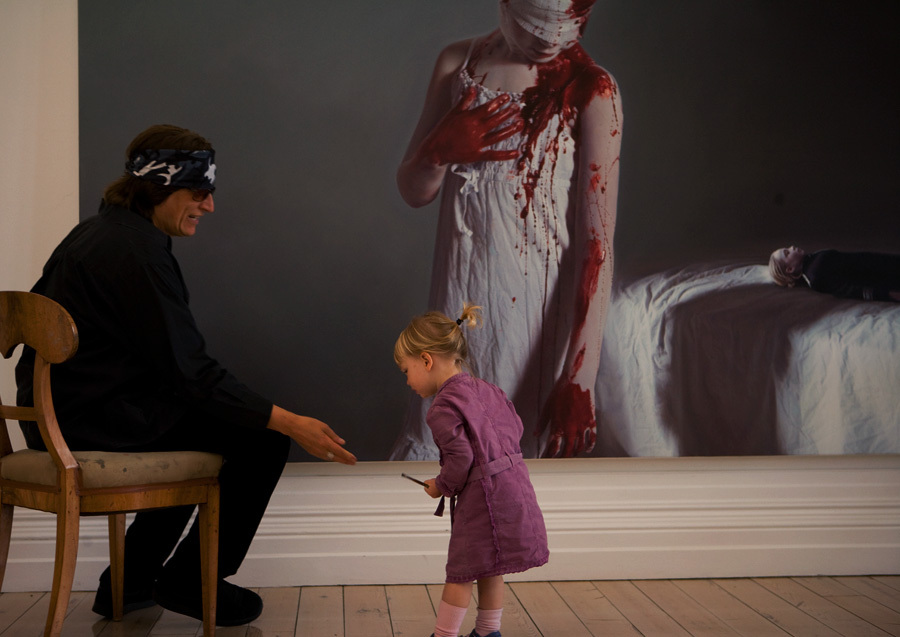 Helnwein and assistant Croí at the studio