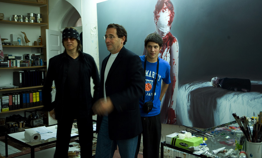 Helnwein, Robert Rosenthal and his son at the studio