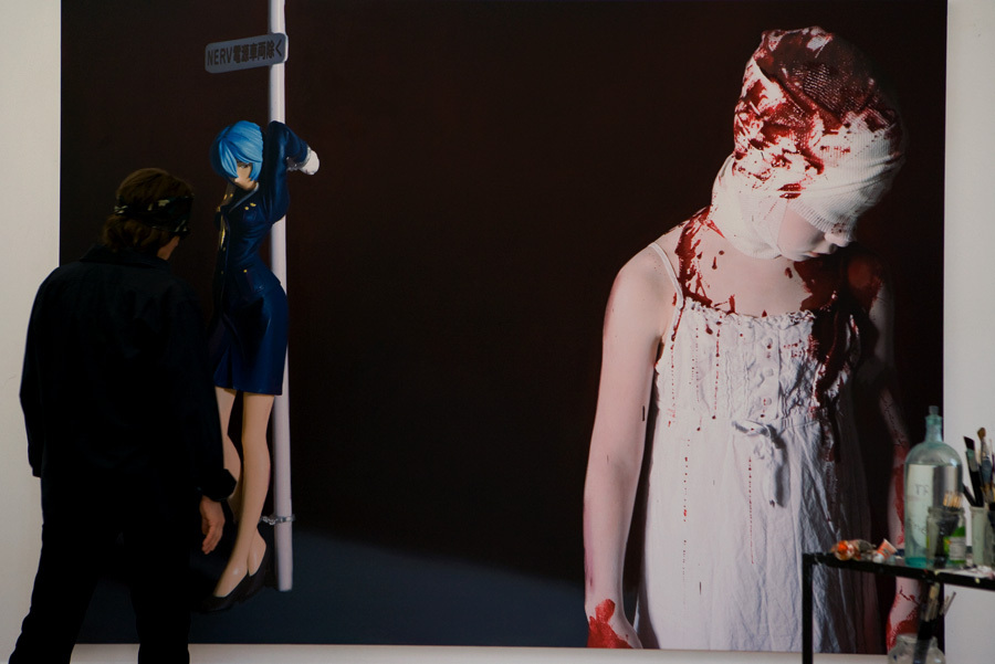 "Helnwein working on ""The Disasters of War"""