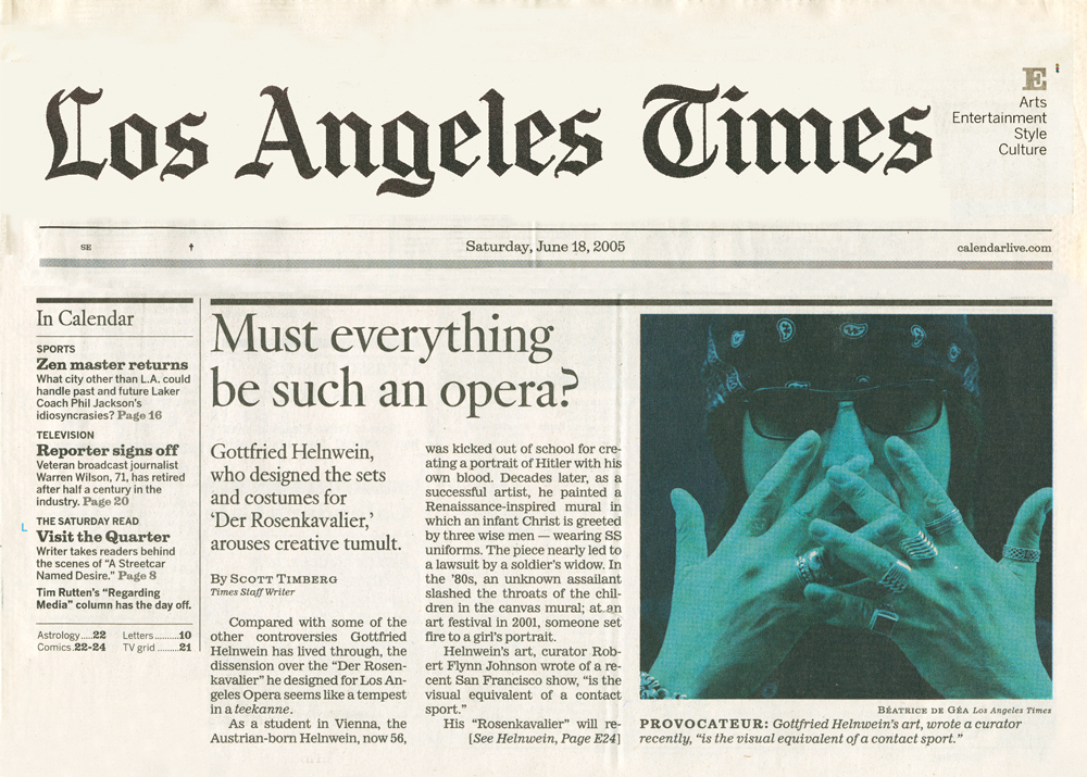 "Gottfried Helnwein arouses creative tumilt"", ""Los Angeles Times"