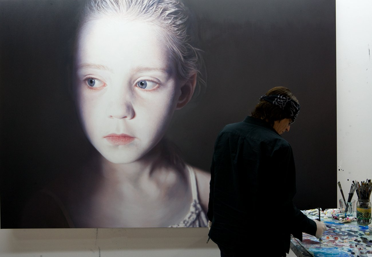 "Helnwein working on ""The Murmur of the Innocents"""