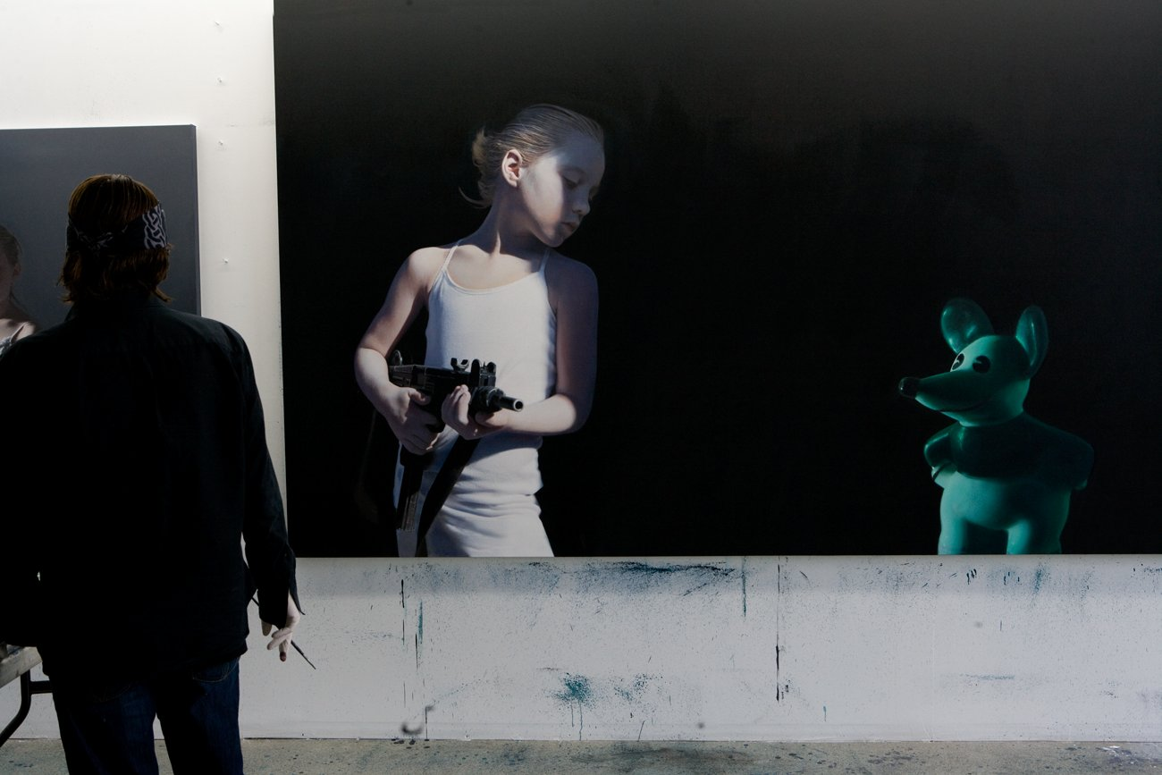 "Helnwein working on ""Murmur of the Innocents"""