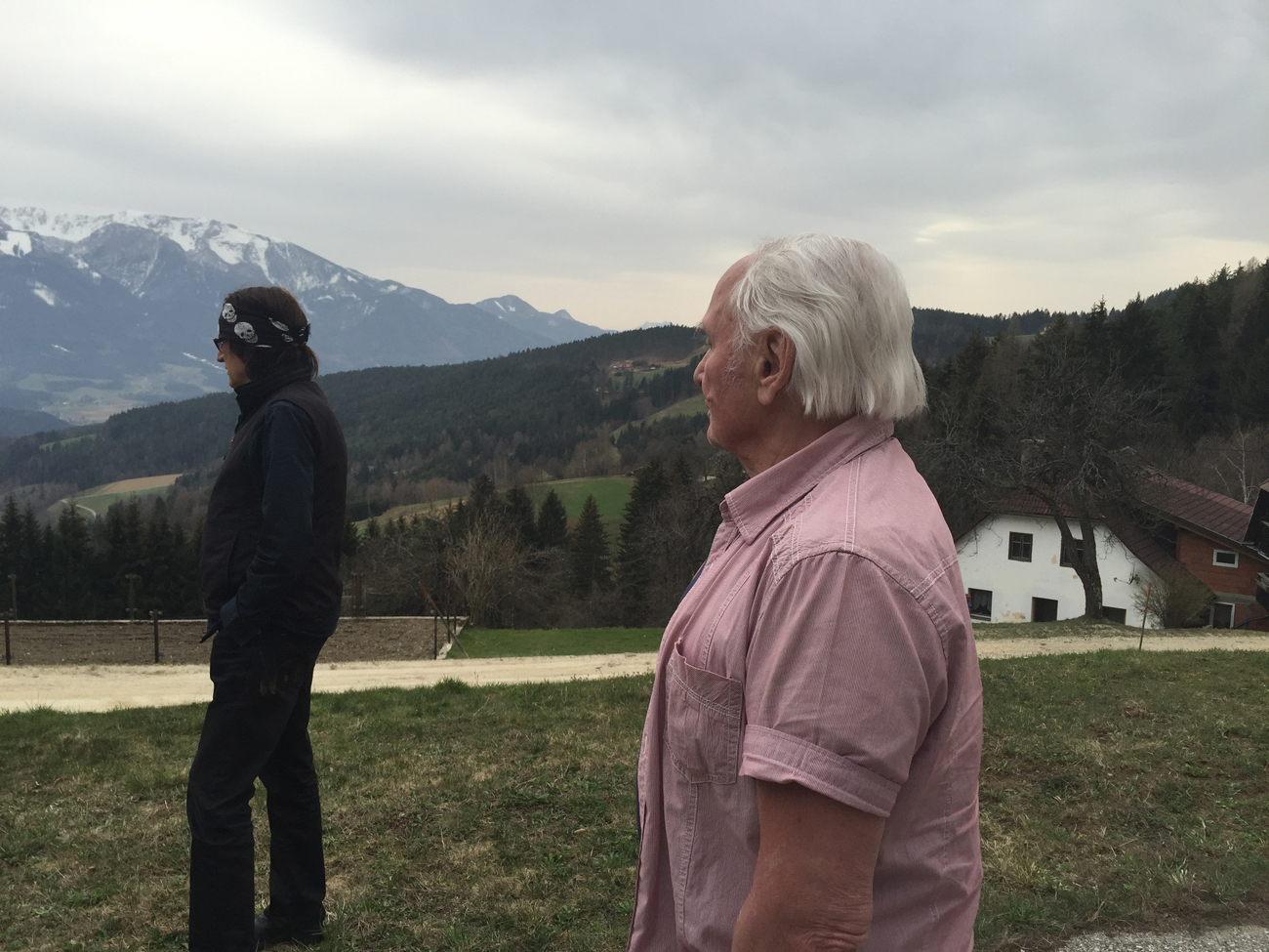 Helnwein and Johann Kresnik in the mountains of Carinthia, Austria