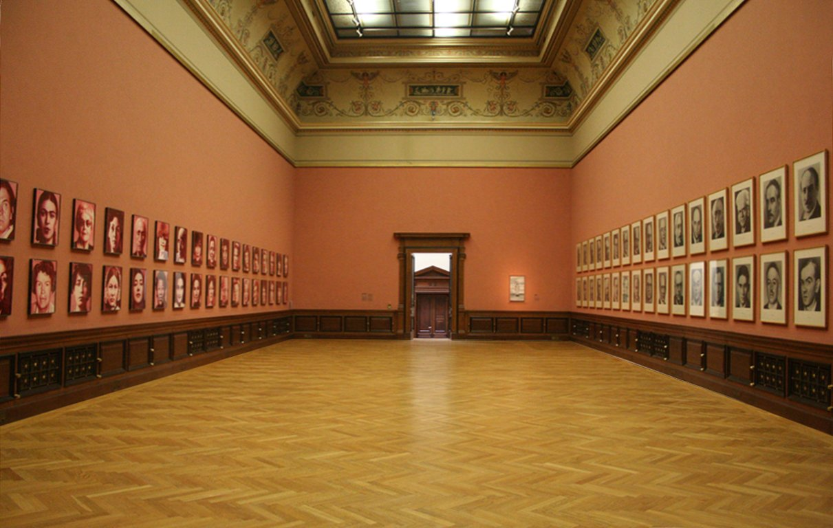 "Installation ""48 Portraits"" by Gottfried Helnwein and ""48 Portraits"" by Gerhard Richter, Galerie Rudolfinum, Prague"