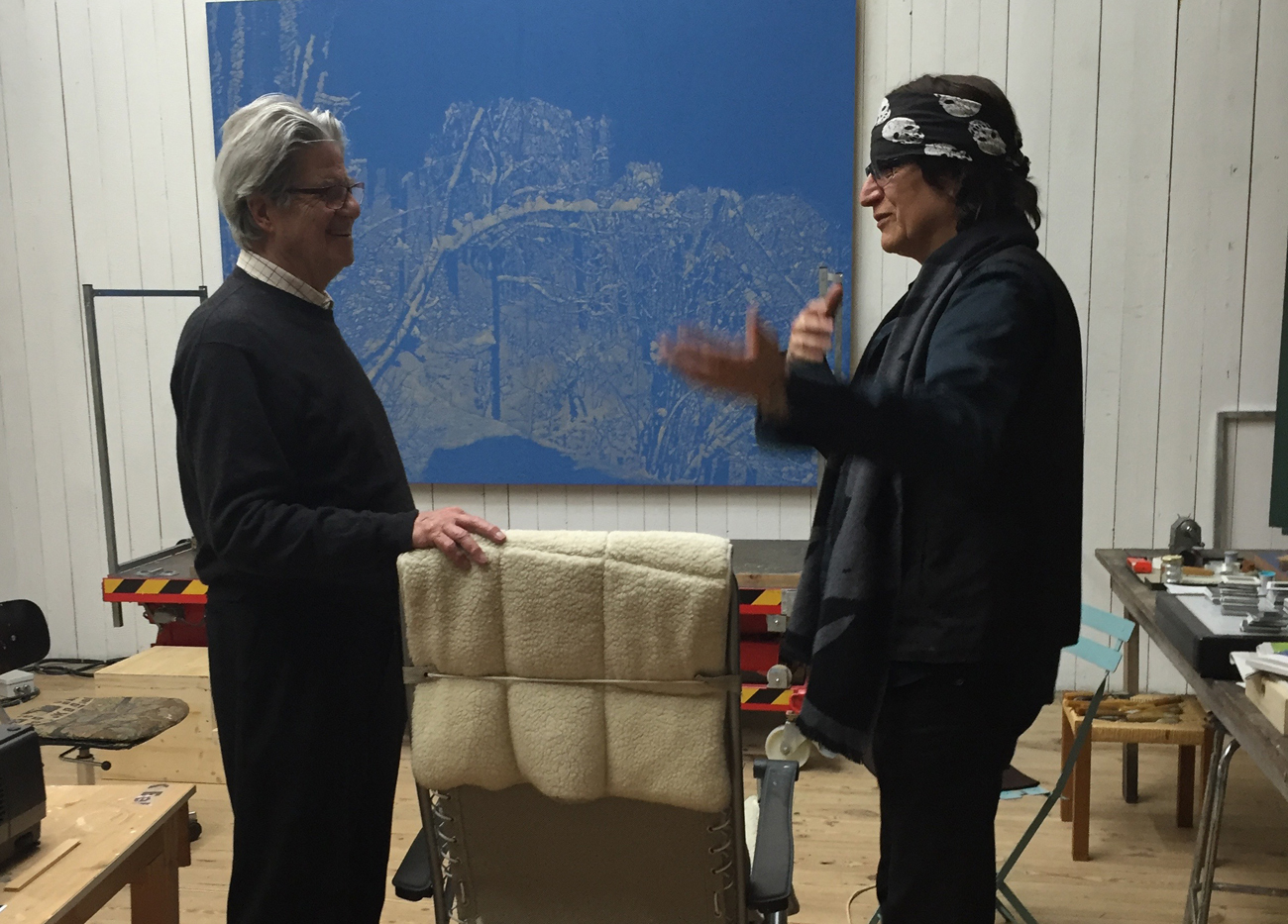 Helnwein talks with Franz Gertsch in his studio