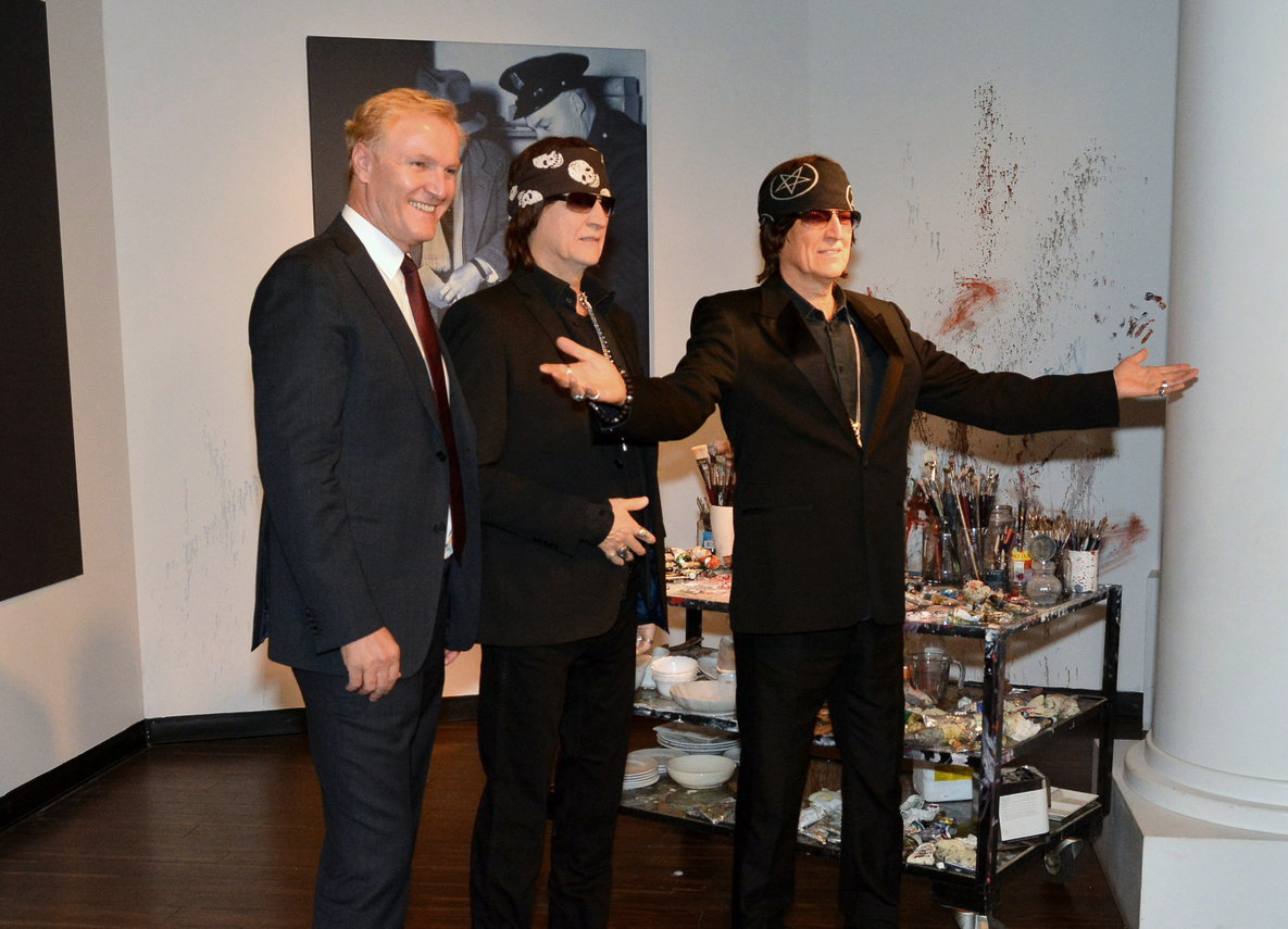 Albertina Museum director Klaus Schröder and Gottfried Helnwein at the unveiling of Helnwein's counterpart in Wax at Madame Tussauds in Wien