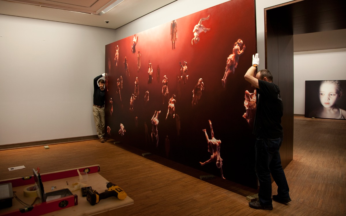 Installing the Helnwein-Retrospective at the Albertina