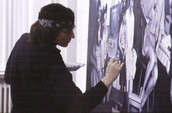 "Helnwein working on ""Turkish Family"""