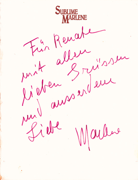 Note for Renate Helnwein by Marlene Dietrich